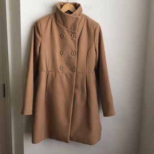 Forever 21 camel coat high collar M